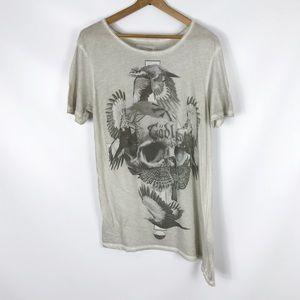 ALLSAINTS   asymmetrical t-shirt godless skull